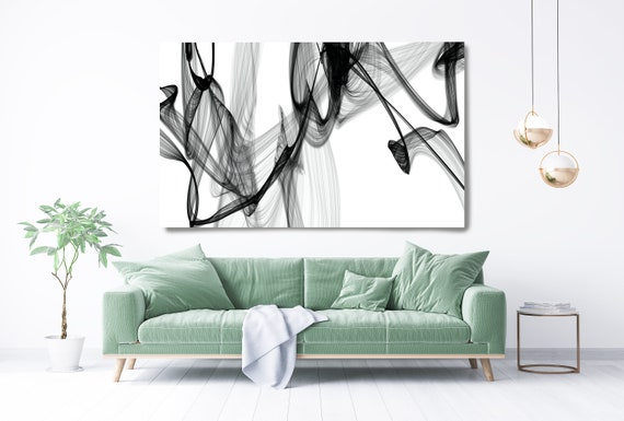 Abstract Nordic Black & White Canvas Painting, Office Decor Minimalist Canvas Art Print Black and White Textured Painting Born of its memory
