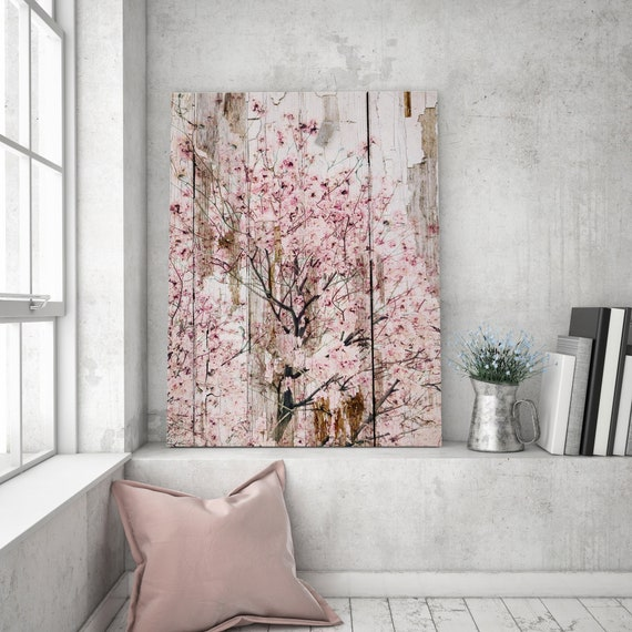 "Spring Flowers I, Pink Blooming Rustic Tree, Extra Large Rustic Canvas Art Print up to 72"" by Irena Orlov"