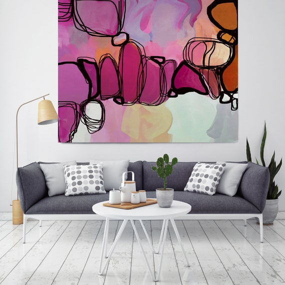 "Sunlight and Shadow, Red, Magenta Abstract Art, Wall Decor, Large Abstract Colorful Contemporary Canvas Art Print up to 48"" by Irena Orlov"
