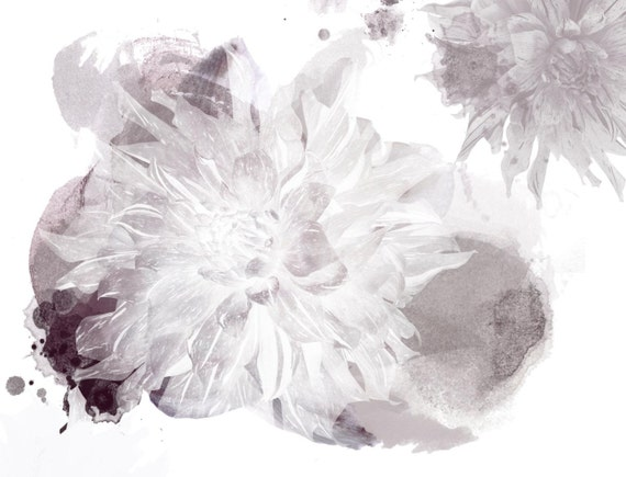 """Modern white. Floral Painting, White Gray Abstract Art, Wall Decor, Abstract Colorful Contemporary Canvas Art Print up to 72"""" by Irena Orlov"""