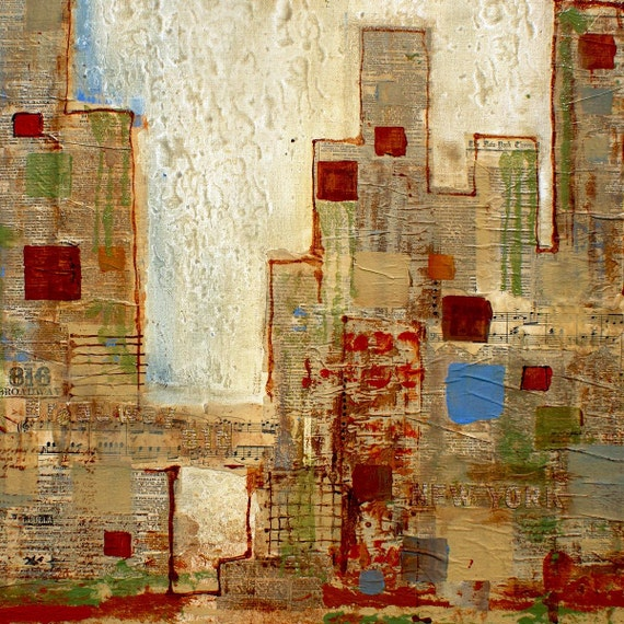 """New York. Extra Large Architectural Cityscape Rustic Canvas Wall Art print up to 48"""" by Irena Orlov, New York City canvas Wall Art Decor"""