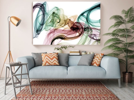 """The Invisible World-Movement19_55_24, Abstract New Media Pink Blue Canvas, Extra Large Abstract  Canvas Art Print up to 72"""" by Irena Orlov"""