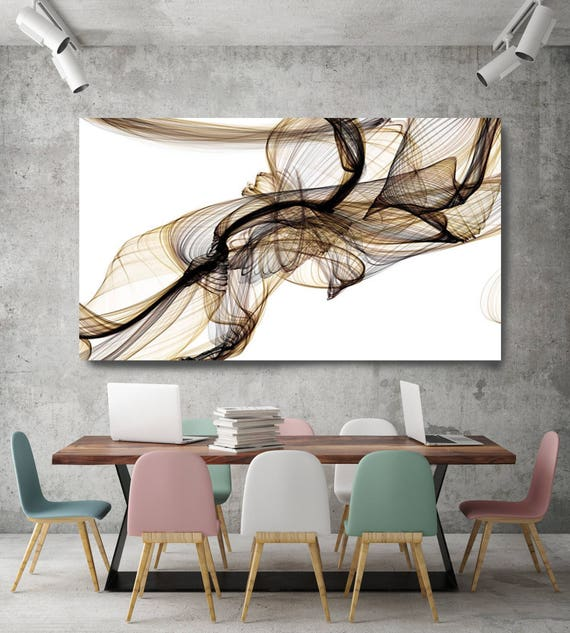 "Freezing a moment 17. New Media Pale Brown Yellow Abstract Art, Extra Large Abstract Contemporary Canvas Art Print up to 72"" by Irena Orlov"