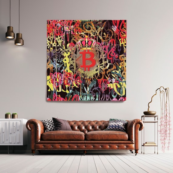 Bitcoin Cryptocurrency Canvas Print. Bitcoin Abstract Modern Office Decor Cryptocurrency Inspirational Wall Art Home Office Bitcoin Graffiti