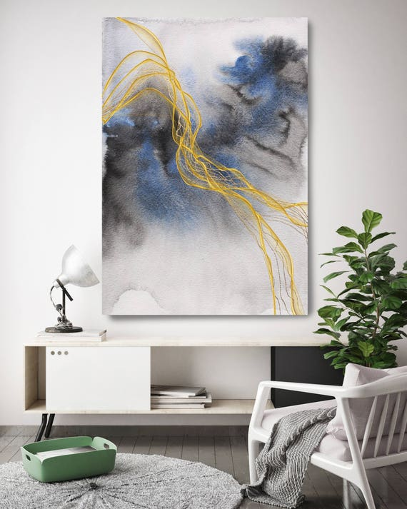 "Blue Expression 1. Watercolor Abstract Blue Black Gold Canvas Art Print, Watercolor Painting Print up to 72"" by Irena Orlov"