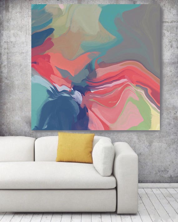 "Abstract melody 2. Original Oil Painting on Canvas, Contemporary Abstract Blue, Red, Pink Trend Colors Oil Painting up to 50"" by Irena Orlov"
