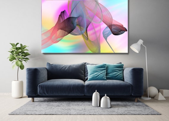Pink Contemporary Wall Art, Office Decoration Vibrant Wall Art Electric Canvas Print, Home Decor, New Media, Color in the Lines 28-35