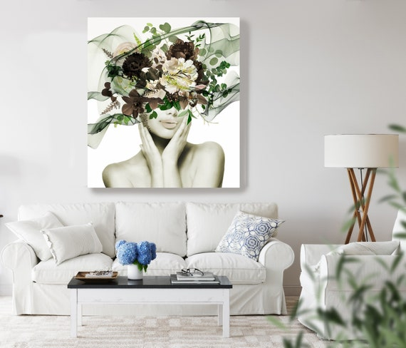 Woman Floral Portrait, Flower head woman Canvas Print, Sexy wall art, Heavenly Perfection 1, Floral Head Woman Print, Woman Fashion Art