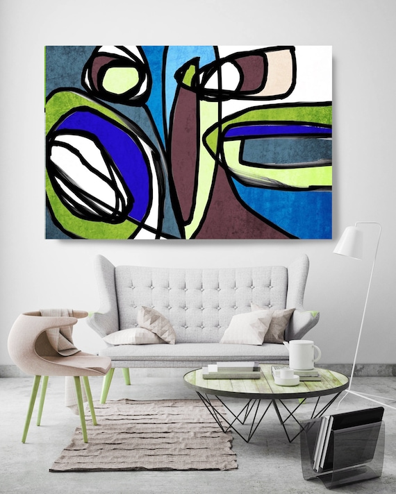 "Vibrant Colorful Abstract-71. Mid-Century Modern Brown Blue Canvas Art Print, Mid Century Modern Canvas Art Print up to 72"" by Irena Orlov"