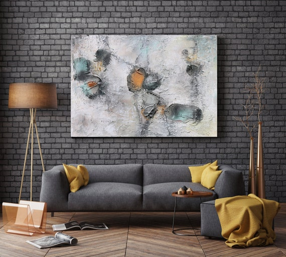 Organic Modern. Original Organic Textured Rustic, Contemporary Acrylic/Oil on Canvas, White Yellow Grey Teal Art by Irena Orlov