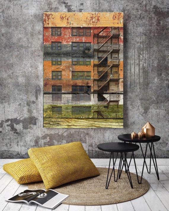 "Old Building. Extra Large Fine Art Canvas Print up to 72"", Industrial Old Building Canvas, Rustic Canvas Wooden Planks Canvas by Irena Orlov"