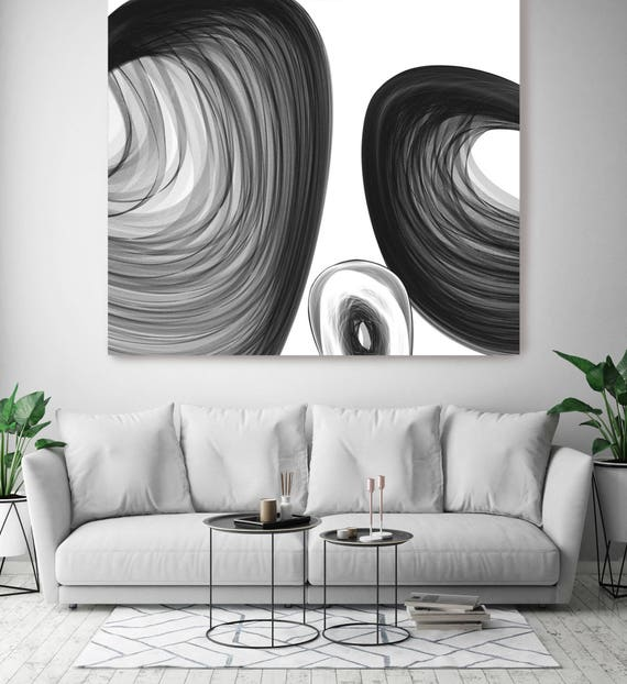 "ORL-6008 Abstract Black and White 18-48-28 . New Media Abstract Black and White Canvas Art Print, Canvas Art Print up to 50"" by Irena Orlov"
