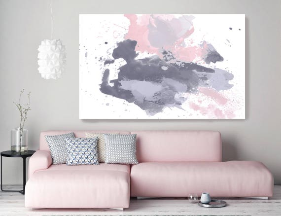 "ORL-8920-31 Splash Emotion 1. Pink Abstract Extra Large Abstract Pink Gray Blue Contemporary Canvas Art Print up to 72"" by Irena Orlov"