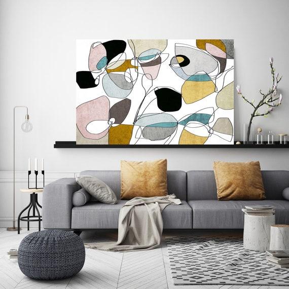 Abstract bloom 5. Line Art Canvas Print, Yellow Blue Pink Modern Minimalist Abstract Wall Art Canvas Print Textured Artwork