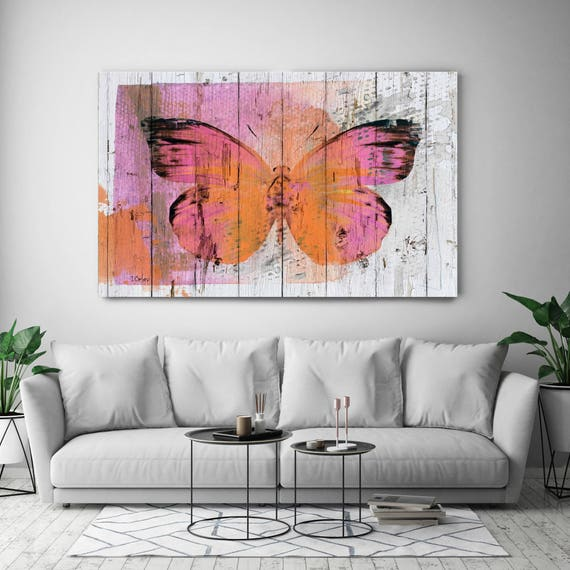 "Butterfly Kiss, Pink Orange Rustic Butterfly on White Wood Canvas Art Print up to 72"" by Irena Orlov"