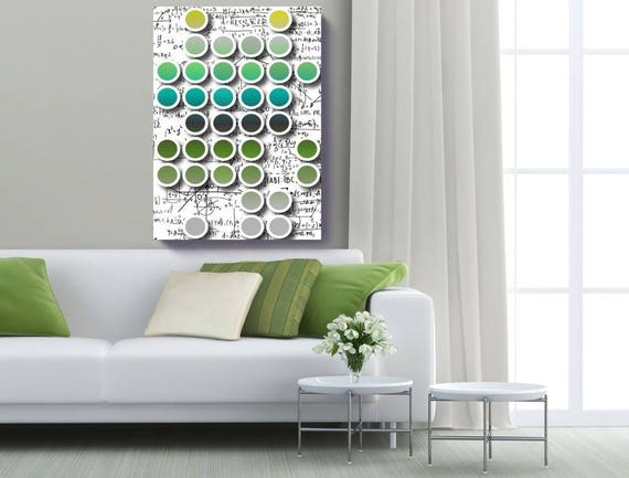 "Mathematical formulas 1. Geometrical New Media Art, Wall Decor, Extra Large Abstract Green Blue Canvas Art Print up to 72"" by Irena Orlov"