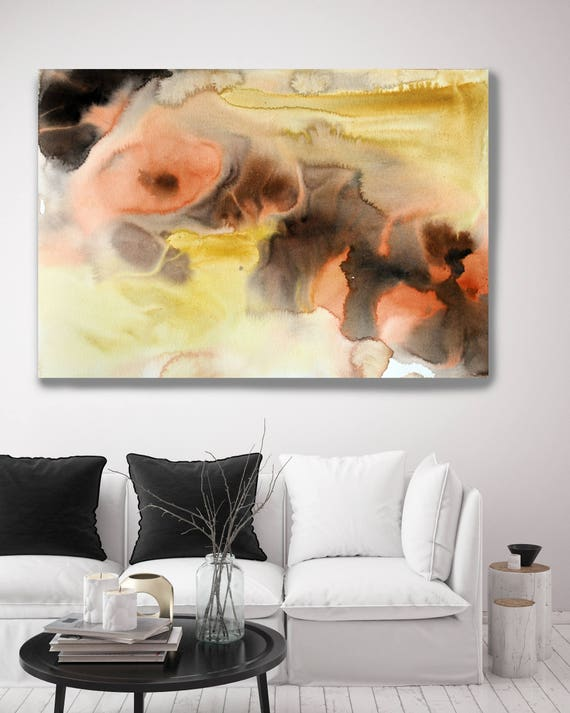 """Watercolor Coastal Abstract 99. Contemporary Abstract Yellow Brown Orange Black Canvas Art Print up to 72"""" by Irena Orlov"""