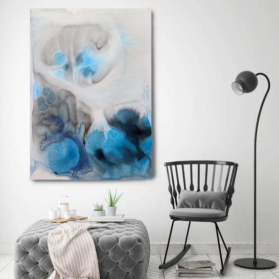 """Coastal Watercolor Abstract 25. Watercolor Abstract Blue Black Canvas Art Print up to 72"""" by Irena Orlov"""