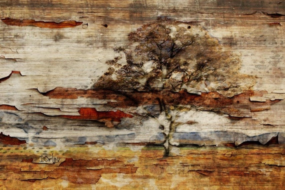 """Nature. Huge Rustic Landscape Painting Canvas Art Print, Extra Large Beige Brown Gray Canvas Art Print up to 80"""" by Irena Orlov"""