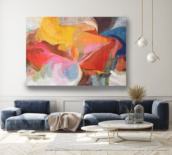 Contemporary Art Abstract Painting Print Canvas Colorful Abstract Art, Extra Large Canvas Print, Abstract Colorful Flows-114-40-57.