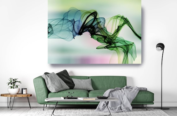 Green Pink Flow Modern Abstract Wall Art Decor, Abstract Canvas Print Modern Trendy Wall art Luxury Abstract Painting