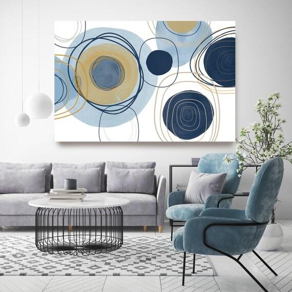 Blue Yellow Circles. Line Art Modern Gray Pink Canvas Art Print Scandinavian print Minimalist abstract Wall decor Minimalist Art