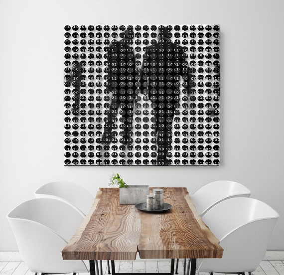 Binary code, Urban Art, Industrial Art, Office Art, People, Geometrical Art, Modern Minimal  Canvas Art Print