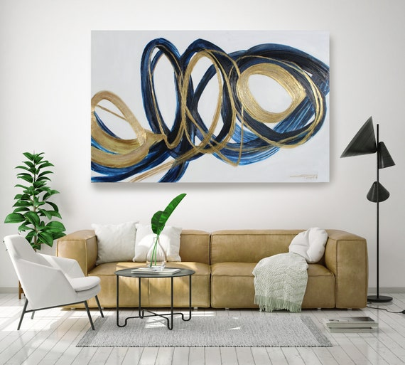 Deep Blue and Gold Circles.Modern Wall Art | Abstract Gold Blue Canvas Print | Large Wall Art | Large Abstract Canvas | Big Navy Blue Print