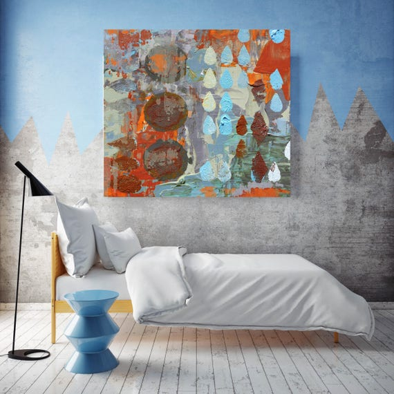 """Breaking Point. Blue Red Geometrical Abstract Art, Extra Large Abstract Colorful Contemporary Canvas Art Print up to 48"""" by Irena Orlov"""