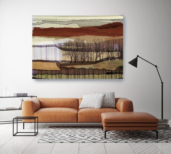 "Dreamy landscape. Huge Rustic Landscape Painting Canvas Art Print, Extra Large Beige Green Brown Canvas Art Print up to 80"" by Irena Orlov"