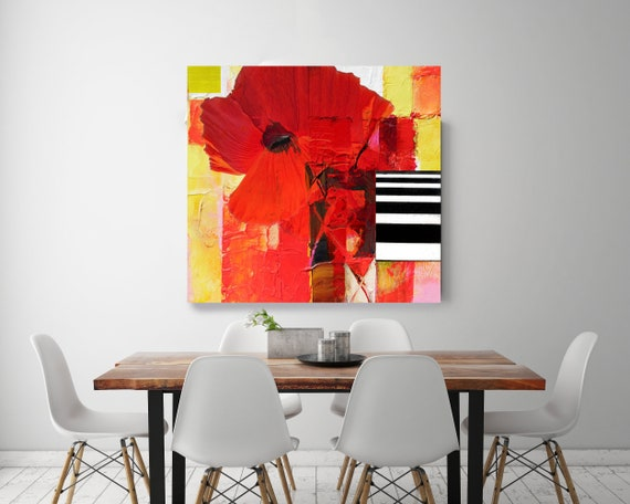 "Red II. Floral Painting, Red Yellow Abstract Art, Wall Decor, Large Abstract Colorful Contemporary Canvas Art Print up to 48"" by Irena Orlov"