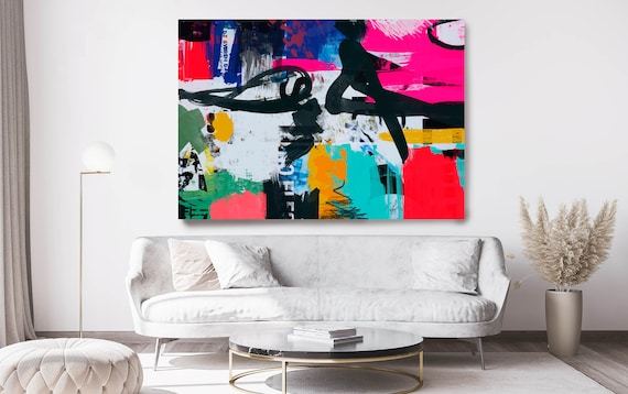 Graffiti Art, Street Art, Colorful Street Art Painting Print on Canvas, Large Canvas Print, Urban Canvas Print, The shapes and lines 1