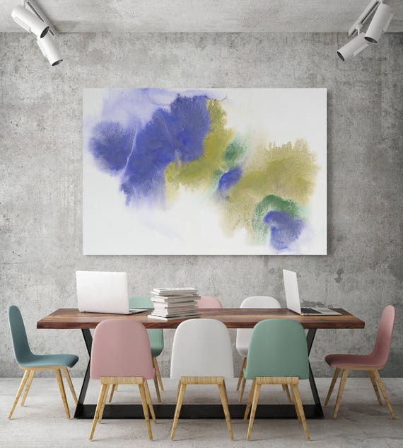 """Watercolor Coastal Abstract 68. Watercolor Abstract Green Purple Canvas Art Print up to 72"""", by Irena Orlov"""