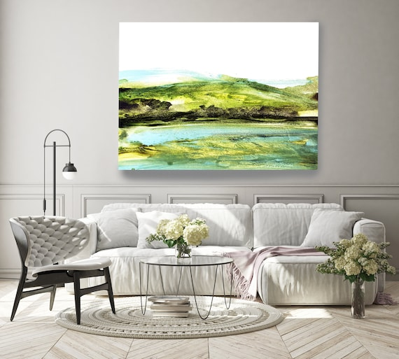 Green Hills, rustic landscape painting, landscape art print, rustic landscape Canvas Print, Rural Landscape