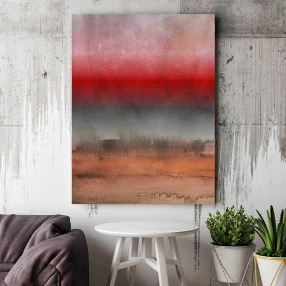 "Abstract Minimalist Rothko Inspired 01-44. Brown Red Watercolor Abstract, Large Abstract Colorful Canvas Art Print up to 72"" by Irena Orlov"