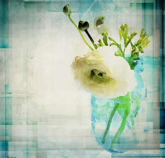 Jar with white flower. Large wall art, flower canvas art print, fine art print, Abstract splash flower by Irena Orlov