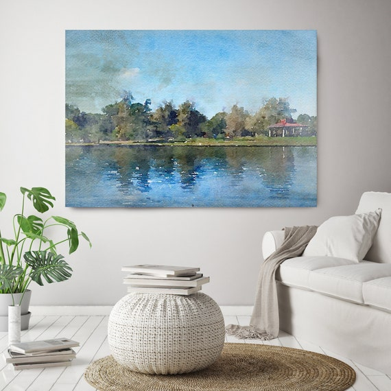 "Lake Balboa at Summer, Vintage Beach Decor, Coastal Wall Canvas Art, Blue White, Sea Canvas Print 80"" by Irena Orlov"