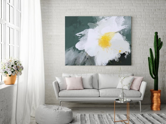 "Warm breeze. Floral Painting, White Yellow Green Abstract Art Large Abstract Colorful Contemporary Canvas Art Print up to 72"" by Irena Orlov"