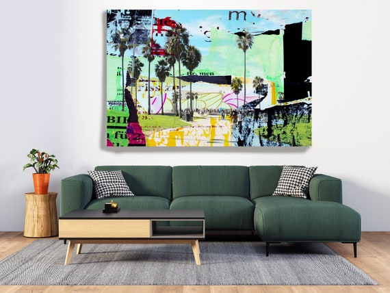 One Summer Day at Venice Beach, Urban Art, Architectural Canvas Art Print, Cityscape Art, Contemporary Art, Venice Beach Artwork Los Angeles