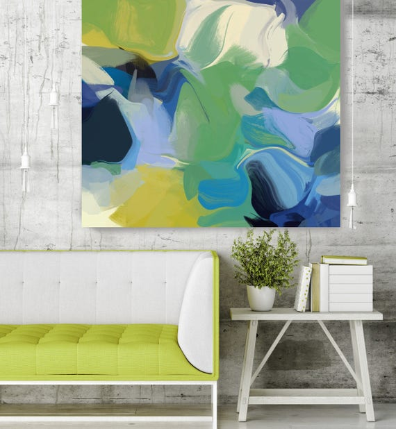 "California Breeze. Blue Green Abstract Paintings Art, Extra Large Abstract Colorful Contemporary Canvas Art Print up to 48"" by Irena Orlov"