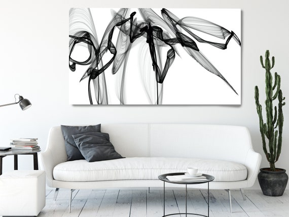 Black and White Wall Art Home Decor Wall Art Black White Abstract Canvas Print Brush Stroke Office Art Large Wall Art, spell