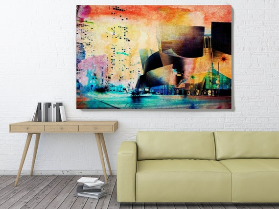 """Wall Disney Concert Hall, Large Architectural Cityscape Canvas Art Print. Rustic Brown URBAN Canvas Art Print up to 72"""" by Irena Orlov"""