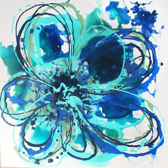 Blue Abstract Splash. Canvas Print by Irena Orlov
