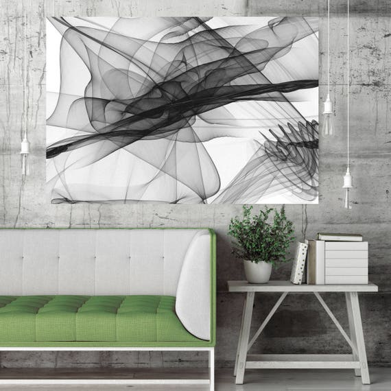 "Abstract Black and White 18-25-26. Contemporary Unique Abstract Wall Decor, Large Contemporary Canvas Art Print up to 72"" by Irena Orlov"