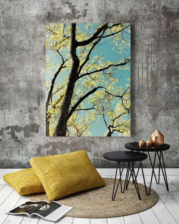 "ORL-5867-6 Spring Tree II. Huge Rustic Landscape Painting Canvas Art Print, Extra Large Blue Green Canvas Art Print up to 80"" by Irena Orlov"