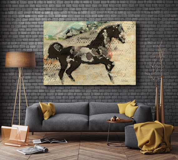 "Warrior. Extra Large Horse, Unique Horse Wall Decor, Brown Rustic Horse, Large Contemporary Canvas Art Print up to 72"" by Irena Orlov"