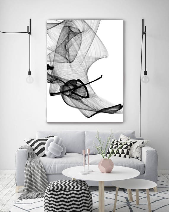 Abstract Poetry 60H x 40W inch, Original Minimalist New Media Abstract Black And White Painting on Canvas Investment Opportunity