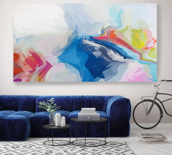 Art Abstract Painting, Blue Red Abstract Painting, Contemporary Art, Extra Large Canvas Print, Playful Movement