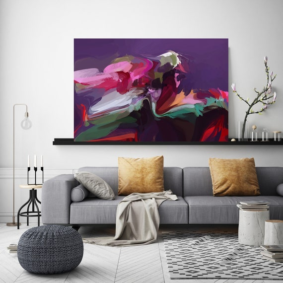 "Brainstorming, Green Purple Pink Abstract Painting, Abstract Green Painting, Abstract Purple Canvas Print up to 80"" by Irena Orlov"