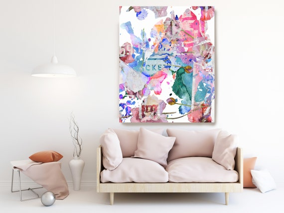 Abstract Pink Blue Painting on Canvas, Extra Large Canvas Print, Oversized Textured Art, Art for Interiors, early morning, Street Art